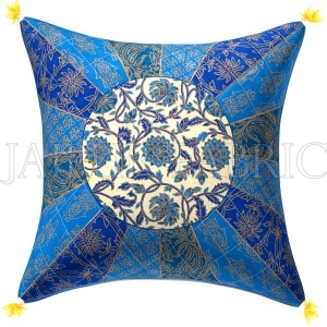 Golden Blue Firozi Floral Print Cream base Cotton Cushion Cover