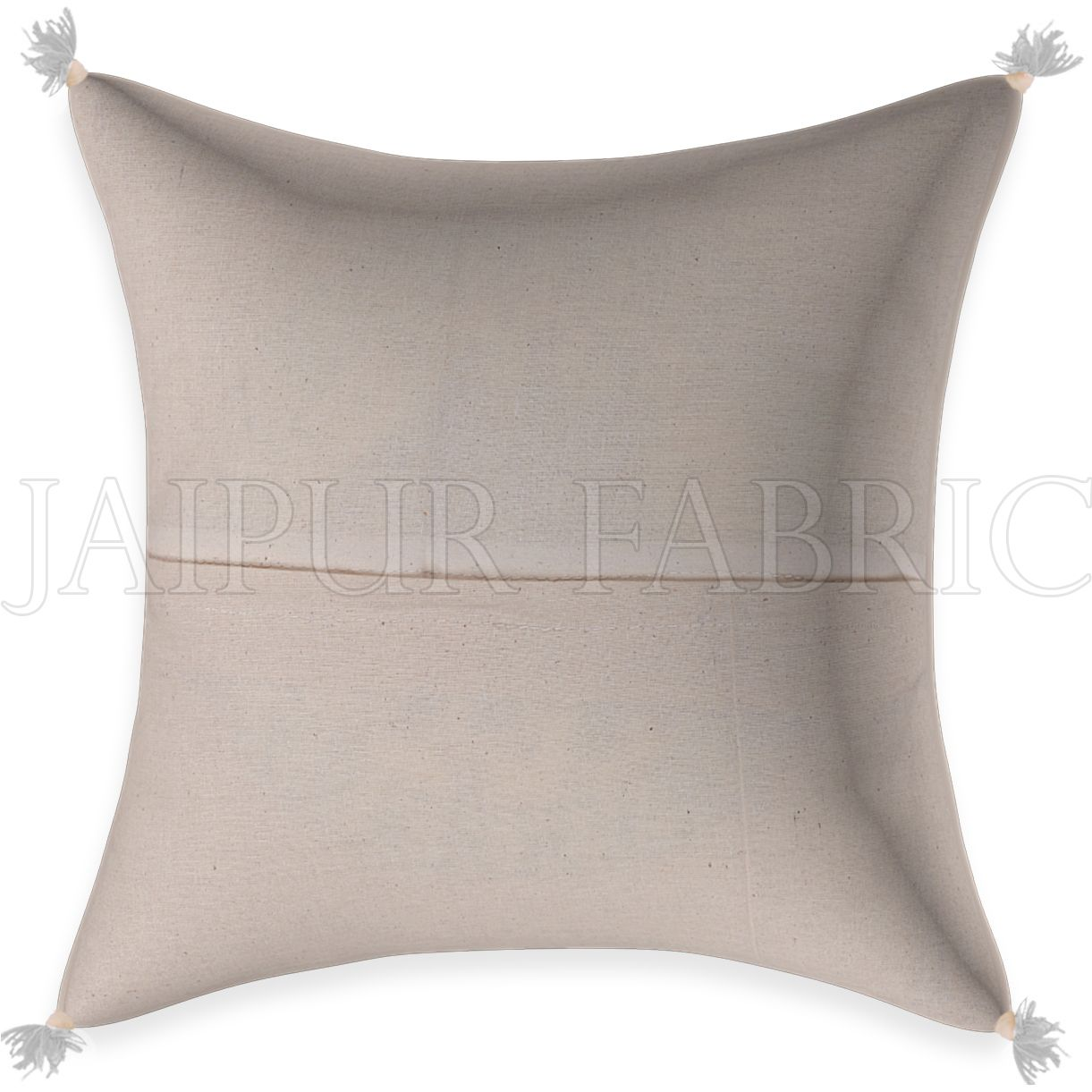 White Base Golden  Brown Print Cotton Cushion Cover