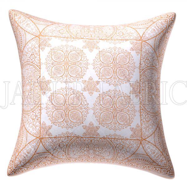White Base Rangoli Pattern Cotton Cushion Cover