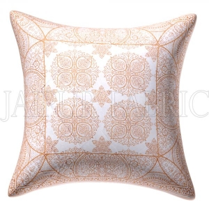 White Base Rangoli Pattern Cotton Cushion Cover