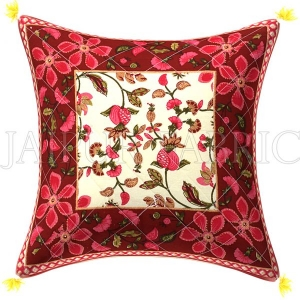 Maroon Base Pink Flower  Pattern Cotton  Cushion Cover