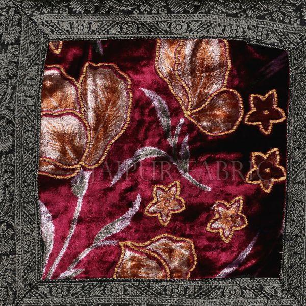 Purple Base Gota Work Green Border Floral Print  Velvet  Cushion Cover