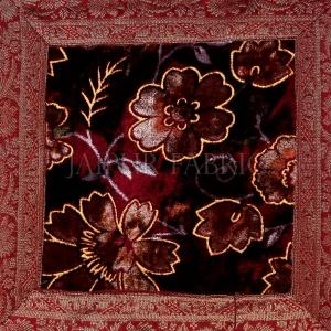Maroon  Base Gota Work Maroon Border  Floral Print  Velvet Cushion Cover