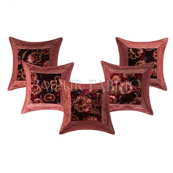 Maroon  Base Gota Work Maroon Border  Floral Print  Velvet Cushion Cover