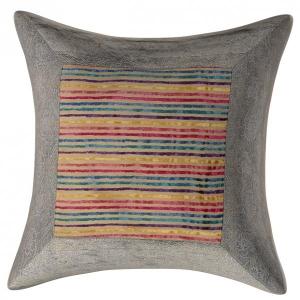 Cream Brown Base GotaWork Greenish  BorderMulticolour Lining Velvet Cushion Cover