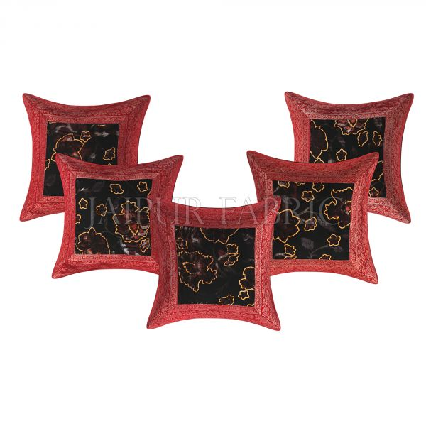Brown Base Gota Work Red Border Velvet Floral Print Velvet Cushion Cover