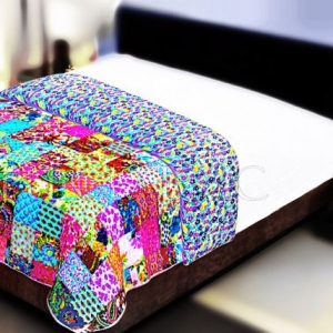 Multi Color Patchwork Double Sided Printed Blue Floral Double Bed Comforter