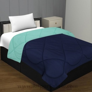 Navy Blue- Aqua Green Single Bed Comforter