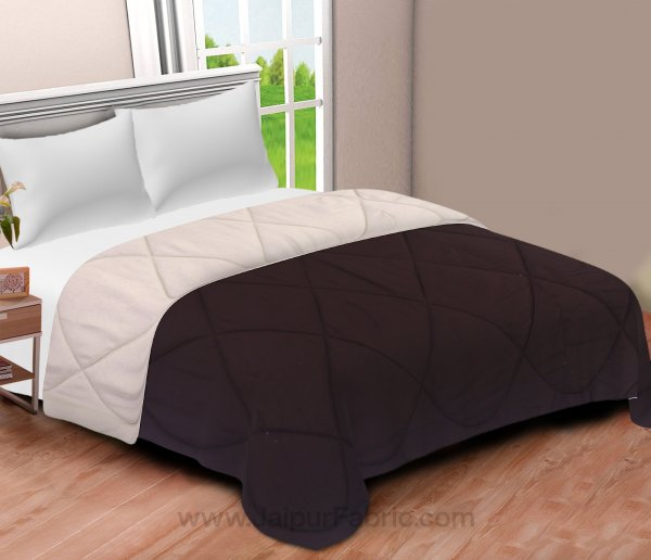 Dark Brown-Off White  Double Bed Comforter