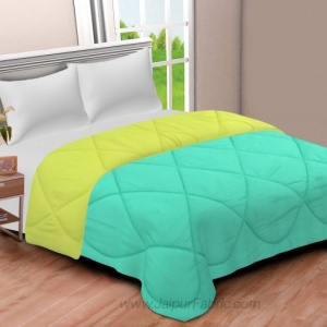 Sky Blue-Lemon Green  Double Bed Comforter