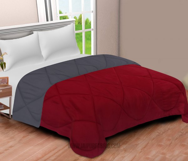 Maroon-Grey  Double Bed Comforter