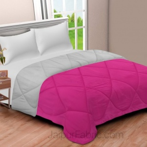 Pink-Grey Double Bed Comforter
