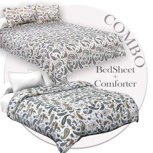 Bed in a Bag Paisley Blueish Grey Double BedSheet Comforter Combo