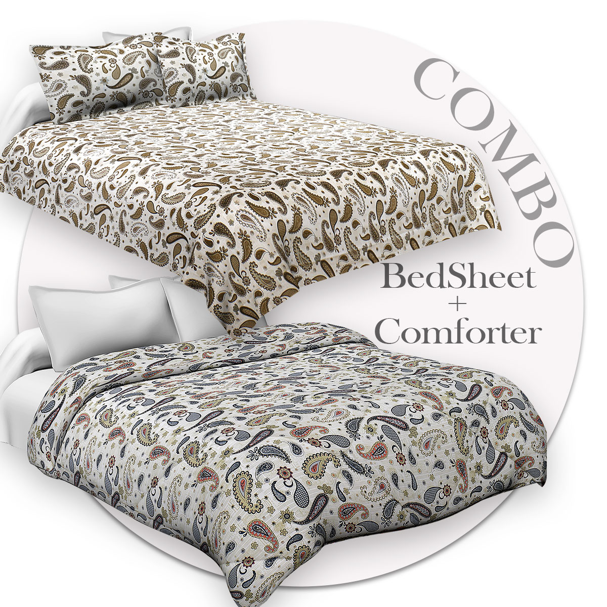 Bed in a Bag Paisley Creamish Green Double BedSheet  Comforter Combo
