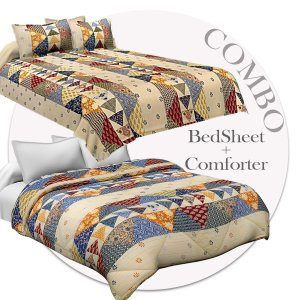 Bed in a Bag Barmeri Pastel Double BedSheet Comforter Combo
