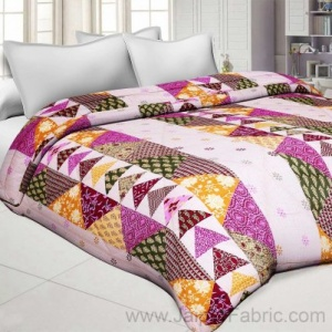 Pink Twill Cotton  Double Bed With Colorful Patchwork Design Comforter