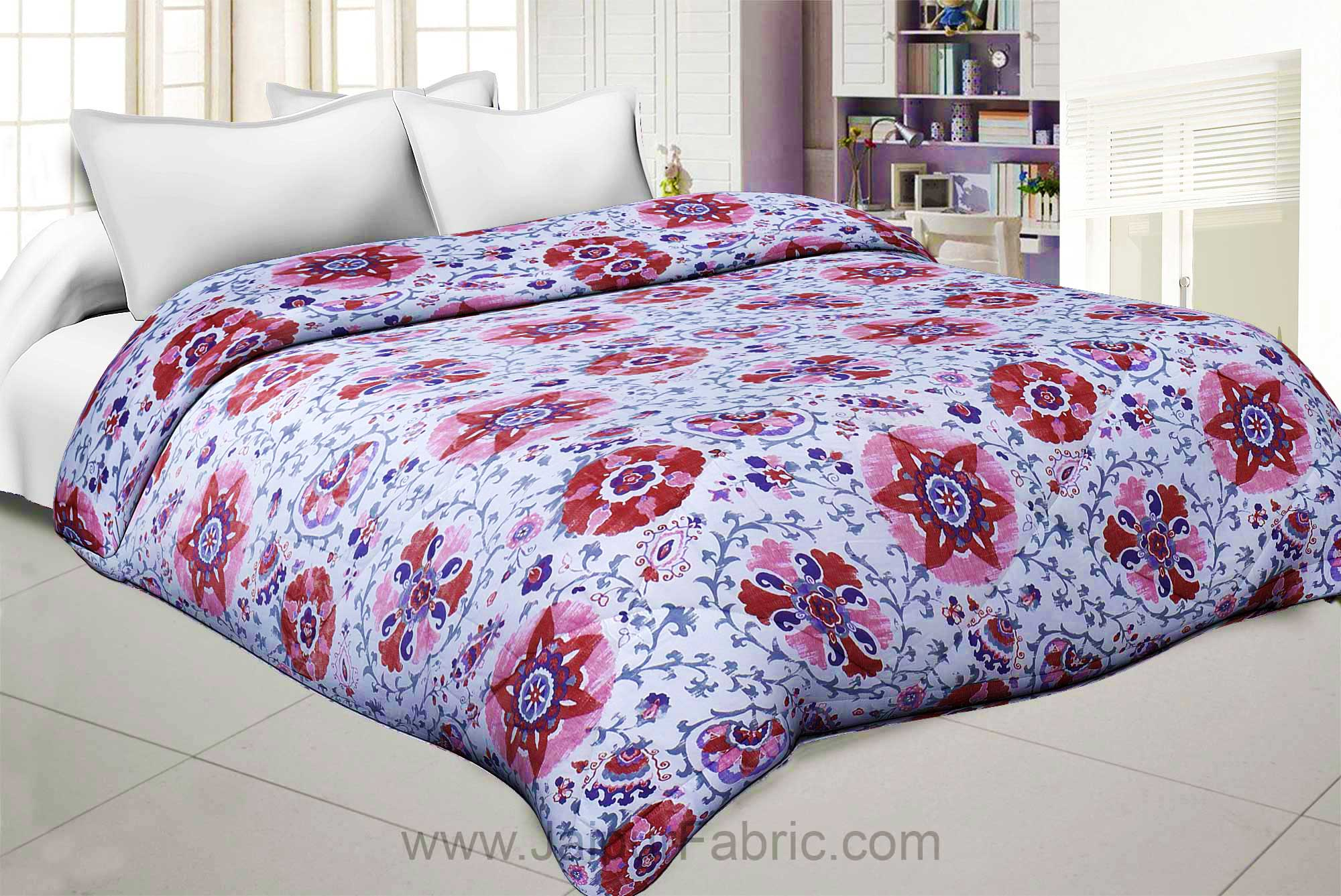Pink Daffodil King Size Double Comforter