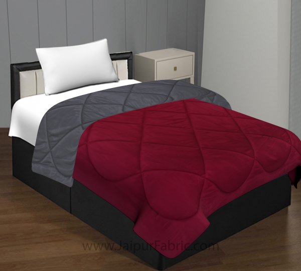 Maroon Dark Grey Single Bed Comforter