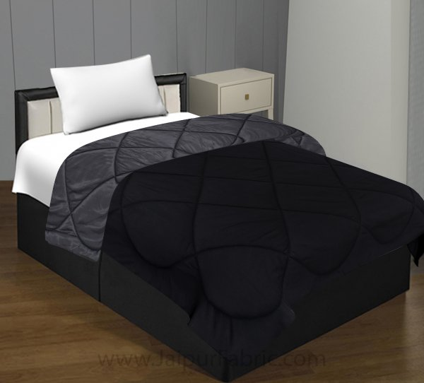 Black Dark Grey Single Bed Comforter