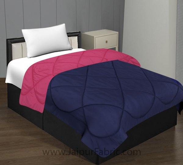 Dark Pink Navy Blue Single Bed Comforter