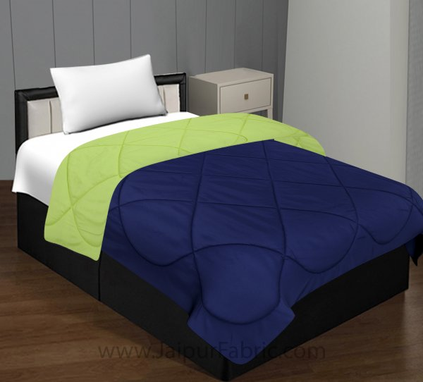 Navy Blue Parrot Green Single Bed Comforter