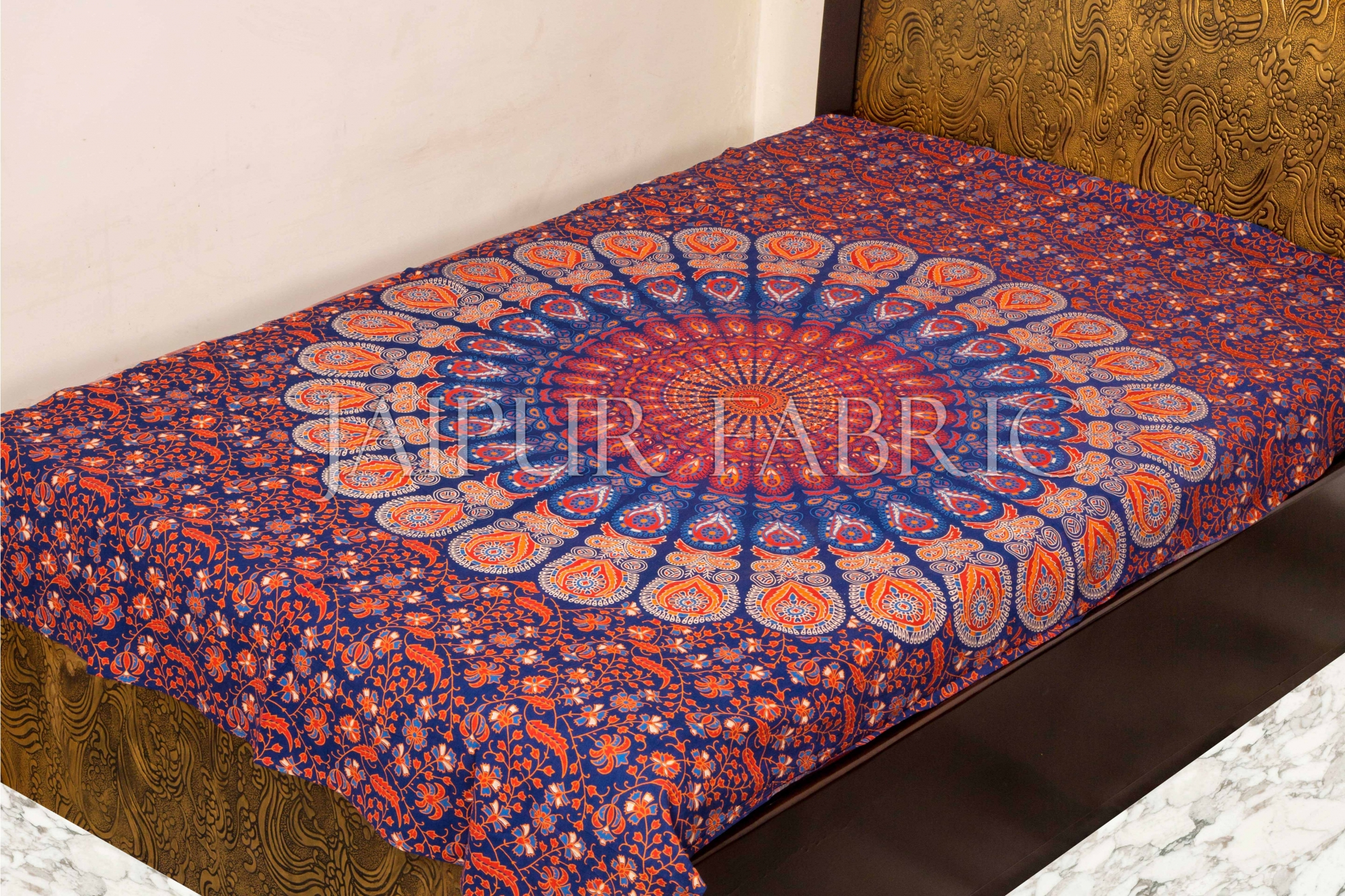 Color full Peacock Print Single Bed Sheets