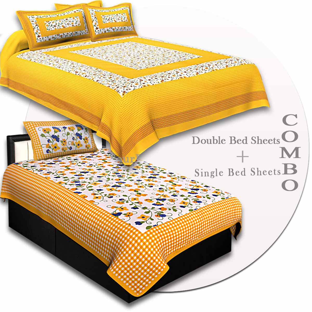 COMBO81- Set of 1 Double Bedsheet and  1 Single Bedsheet With  2+1 Pillow Cover