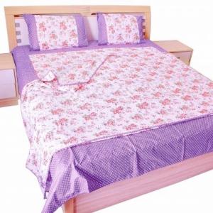 Purple Flower Print Cotton Bedsheet and matching AC Quilt Dohar set