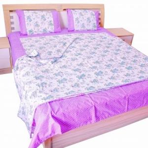 Ferozi Flower Print Cotton Bedsheet and matching AC Quilt Dohar set