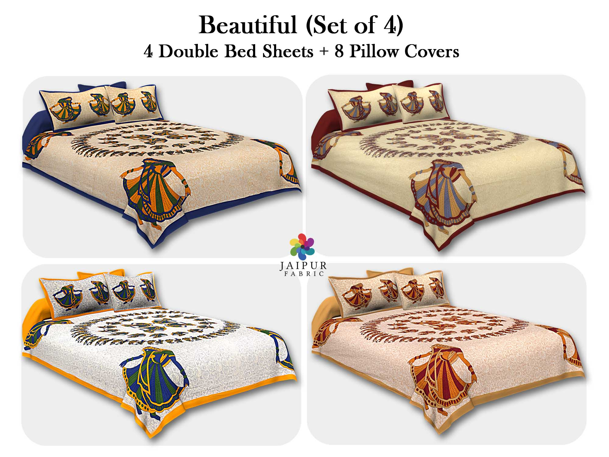 COMBO108 Beautiful Multicolor 4 Bedsheet + 8 Pillow Cover