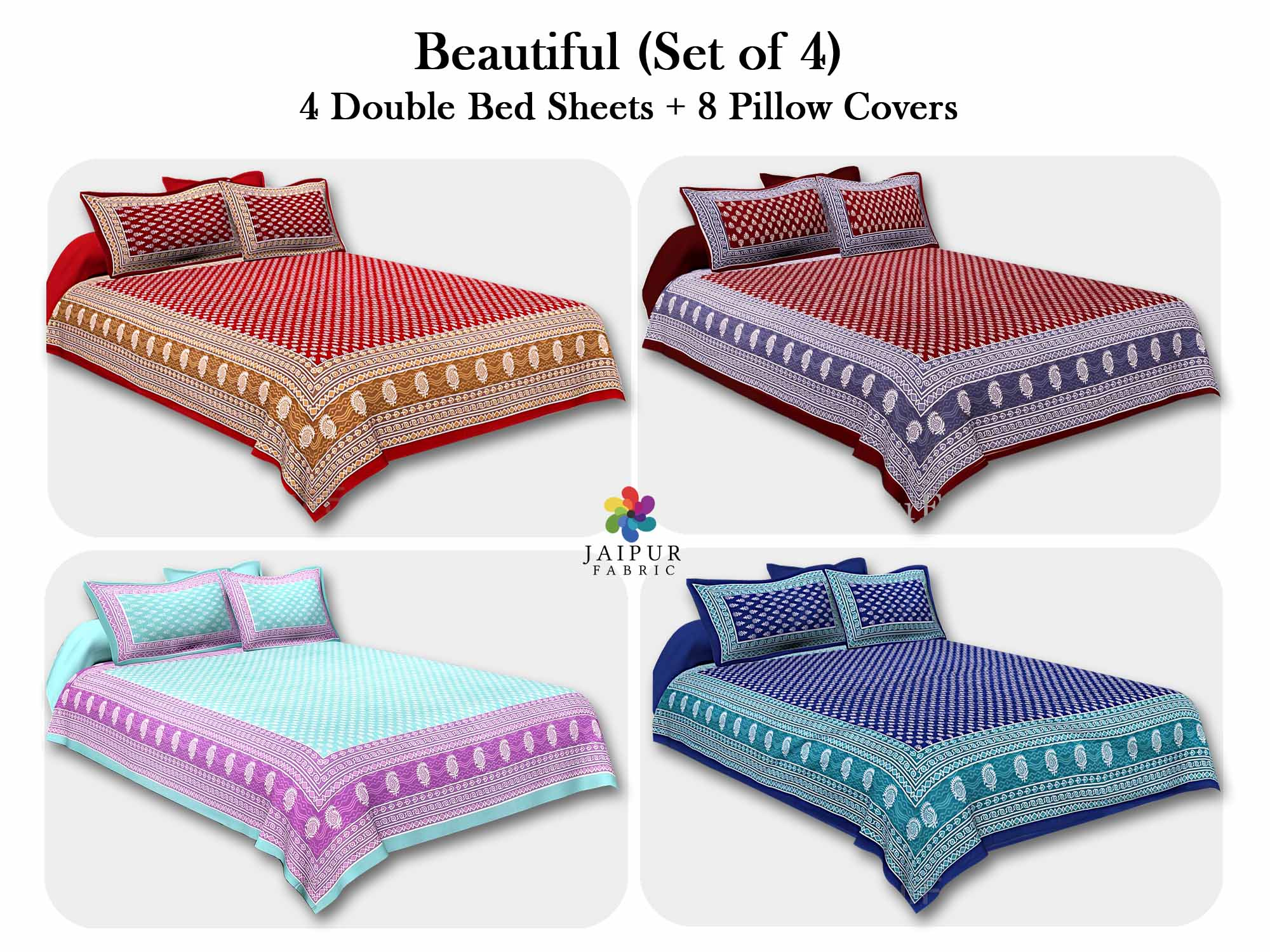 COMBO110 Beautiful Multicolor 4 Bedsheet + 8 Pillow Cover