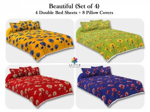 COMBO111 Beautiful Multicolor 4 Bedsheet + 8 Pillow Cover