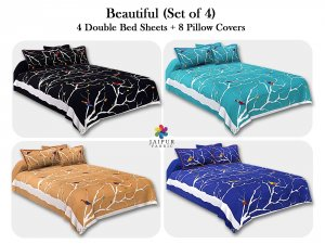 COMBO112 Beautiful Multicolor 4 Bedsheet + 8 Pillow Cover