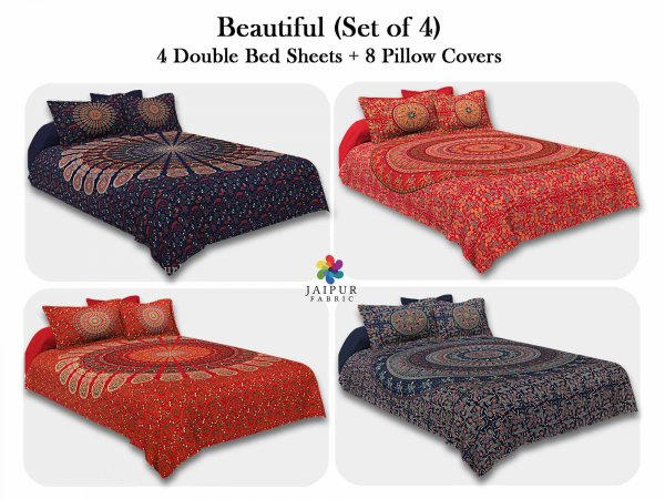 COMBO113 Beautiful Multicolor 4 Bedsheet + 8 Pillow Cover