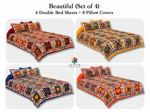 COMBO114 Beautiful Multicolor 4 Bedsheet + 8 Pillow Cover