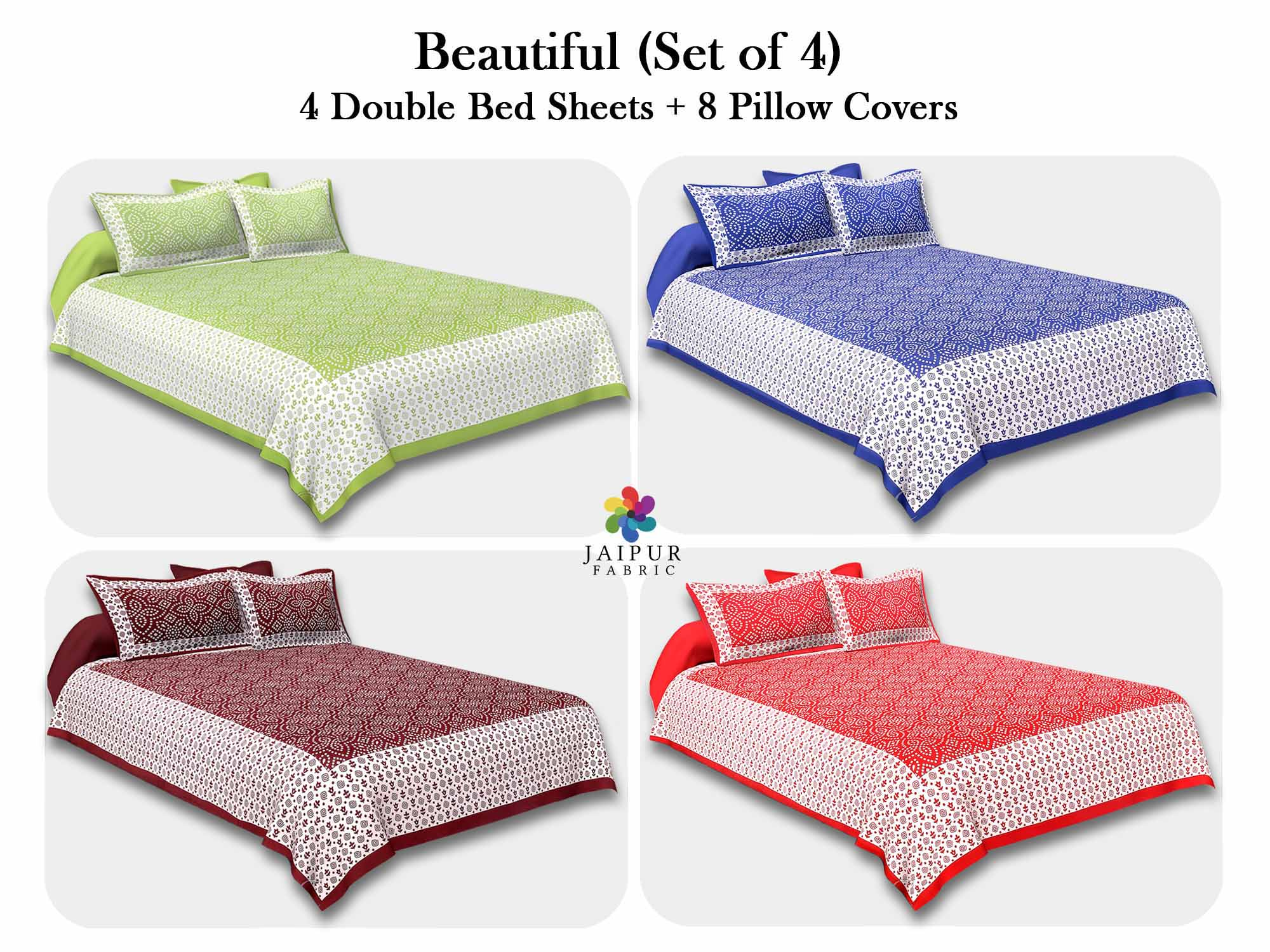 COMBO115 Beautiful Multicolor 4 Bedsheet + 8 Pillow Cover