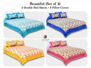 COMBO116 Beautiful Multicolor 4 Bedsheet + 8 Pillow Cover