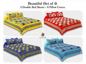 COMBO117 Beautiful Multicolor 4 Bedsheet + 8 Pillow Cover