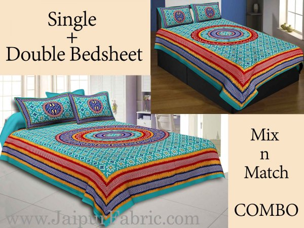 COMBO50- Set of 1 Double Bedsheet and  1 Single Bedsheet With  2+2 Pillow Cover