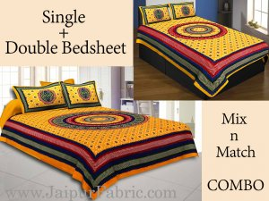 COMBO51- Set of 1 Double Bedsheet and  1 Single Bedsheet With  2+2 Pillow Cover