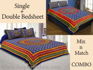 COMBO52- Set of 1 Double Bedsheet and  1 Single Bedsheet With  2+2 Pillow Cover