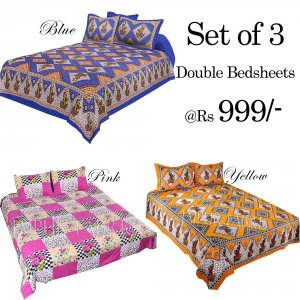 COMBO26 - Set of 3 Double Bedsheets with 6 Pillow Covers