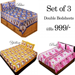 COMBO27 - Set of 3 Double Bedsheets with 6 Pillow Covers