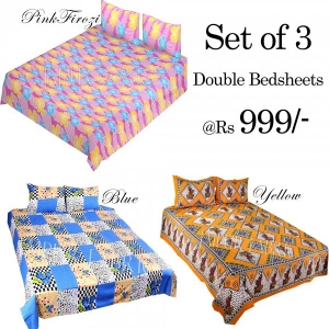 COMBO28 - Set of 3 Double Bedsheets with 6 Pillow Covers