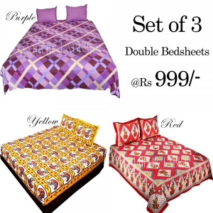 COMBO29 - Set of 3 Double Bedsheets with 6 Pillow Covers
