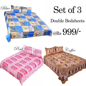 COMBO30 - Set of 3 Double Bedsheets with 6 Pillow Covers