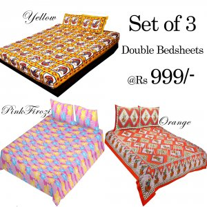 COMBO31 - Set of 3 Double Bedsheets with 6 Pillow Covers