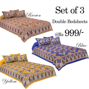 COMBO32 - Set of 3 Double Bedsheets with 6 Pillow Covers