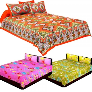 COMBO33 - Set of 3 Double Bedsheets with 6 Pillow Covers