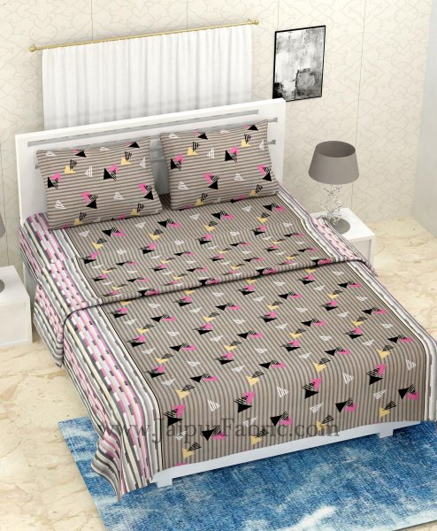 COMBO336 POLYGON BROWN PRINT BEDSHEET + COMFORTER SET